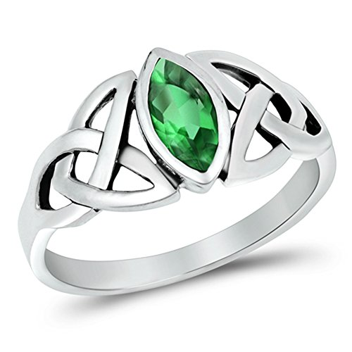 Sterling Silver Simulated Emerald Ring Irish Celtic Knot Design Band 925 New Size 7 (Celtic Knot Design Ring)