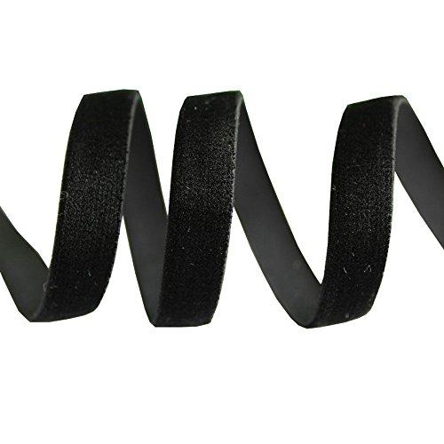 3/8' 9mm Tape (3/8'' 9mm elastic velvet ribbons strench webbing DIY decoration tapes 20 yards (black))