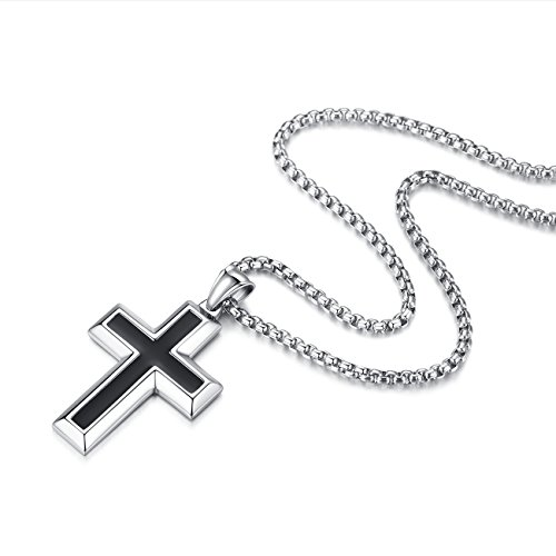 Molike Simple Stainless Steel Black and Silver Cross Pendant Necklace for Men Women, 20-24