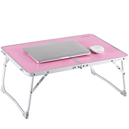 , Superjare Portable Outdoor Camping Table, Breakfast Serving Bed Tray with Legs - Pink ()