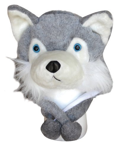 Choose From Over 25 Animals! - Plush Faux Fur Animal Critter Hat Cap - Soft Warm Winter Headwear - Short with Ear Poms and Flaps & Long with Scarf and Mittens Available (Short Gray Wolf)
