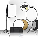 Julius Studio 20 x 28 inch Softbox Reflector Lighting Kit with 32 inch, 5 Colors in 1 Reflector Disc and Spring Clip Holder, Tripod Light Stand for Portrait Video Photography Studio, JSAG391