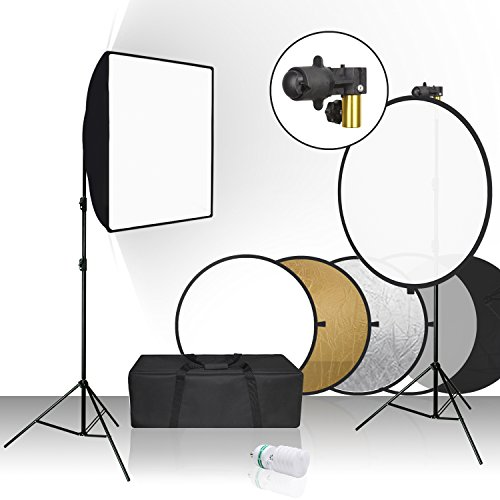 Julius Studio 20 x 28 inch Softbox Reflector Lighting Kit with 32 inch, 5 Colors in 1 Reflector Disc and Spring Clip Holder, Tripod Light Stand for Portrait Video Photography Studio, JSAG391 by Julius Studio