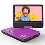 "COOAU 11"" Portable DVD Player with Eye Protection HD Swivel Screen, Support Power Bank Charging, Last Memory Function, Region Free, SD/USB/AV-Out Port, Purple"
