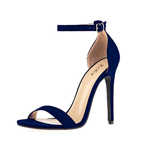 ZriEy Women's Heeled Sandals Ankle Strap Dress High Heels Stilettos 11CM Shoes