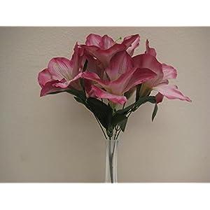 """6 Bushes MAUVE Amaryllis Artificial Silk Flowers 16"""" Bouquet 6-647MV 24"""