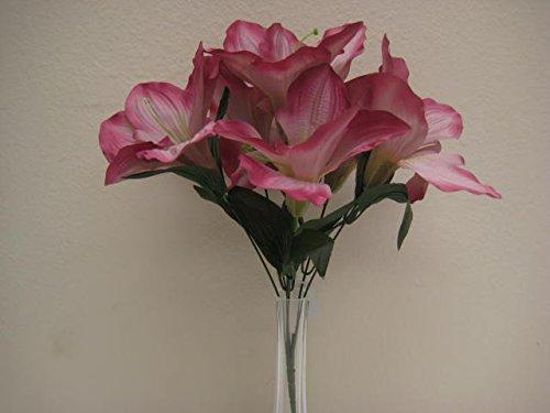 6 Bushes MAUVE Amaryllis Artificial Silk Flowers 16