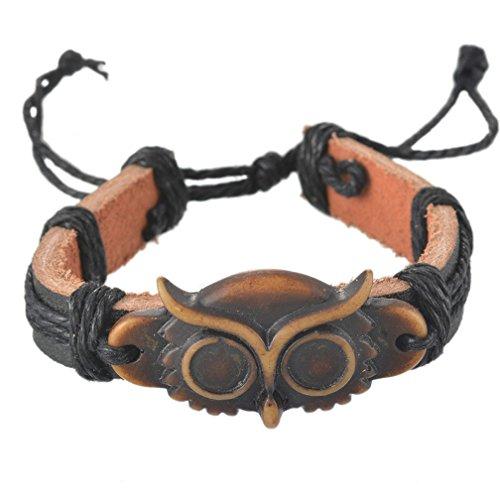 MJartoria Bronze Color Owl Charm Cowhide PU Leather Hemp Cords Braided Adjustable Punk Style Bracelet (Owl Hemp)
