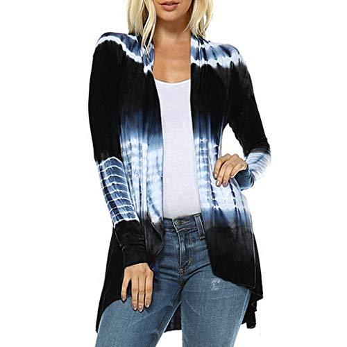 Dainzuy Womens Open Front Cardigan Tie-Dye Long