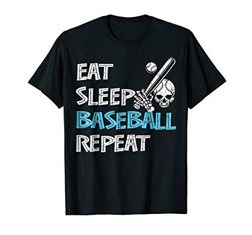 Eat Sleep Baseball Repeat Shirt Gifts Skull and