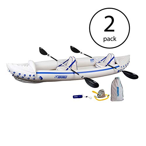 Sea Eagle 370 Pro 3 Person Inflatable Kayak Fishing Boat Canoe Paddles (2 Pack) (Sea Eagle Se370 Inflatable Kayak With Pro Package)
