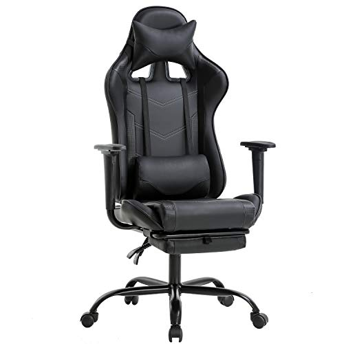 Office Chair PC Gaming Chair Ergonomic Desk Chair Executive PU Leather Computer Chair Lumbar Support with Footrest Modern Task Rolling Swivel Racing Chair for Women&Men