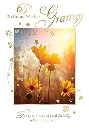 65 BIRTHDAY WISHES Granny Flower Field Sun Design Happy Birthday Karte