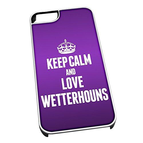 Cover per iPhone 5/5S Bianco 2085Viola Keep Calm And Love wetterhouns