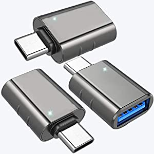 USB C to USB Adapter (3 Pack), USB Type-C to USB 3.0 (Female) Adapter, Thunderbolt 3 to USB Adapter for Chromebook,Pixelbook,Microsoft Surface Go,Galaxy S8 S9 S10 Plus,Note 8 9 and More Type C Devices Computer Cable Adapters
