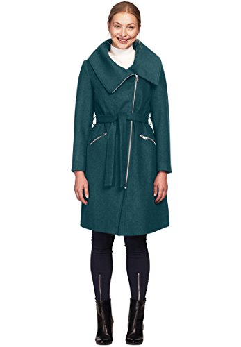 Ellos Women's Plus Size Asymmetrical Zip Belted Wool Blend Coat Midnight - Quilted Side Zip Coat