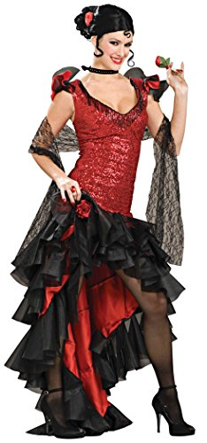 Spanish Dancer Fancy Dress Costume (Forum Deluxe Designer Collection Spanish Dancer Costume, Black/Red, Small)