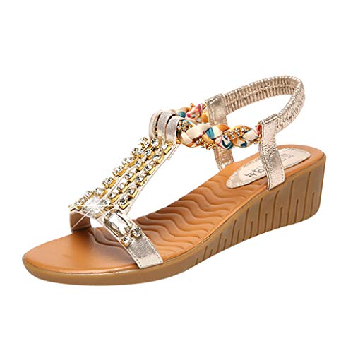 (Womens Spring Summer Wedge Sandals,❤️ FAPIZI Ladies Open Toe Crystal Bling Shoes Casual Boho Beach Roman Sandals Shoes Gold)