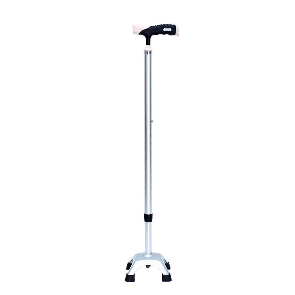 AA + 格納式調節可能なオールアルミ松葉杖、ワンピースの高強度メタルグレー杖、4支点ゴム底、耐久性のある歩行器