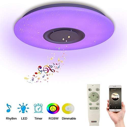 chollos oferta descuentos barato 24W Lámpara de Techo LED Regulable con Mando Plafonnier con Altavoz Bluetooth Plafón cielo estrellado Proyector Rotatorio Color Star para Cuarto de Niños de Bebé Dormitorio de Niños Regalo de Niños