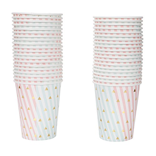 Geeklife Metallic Gold Paper Cups, Disposable Gold Triangle Paper Cups 9oz for Wedding,Party,Cocktail and Anniversary Dinner,40 pcs (Cup Pink Rose)