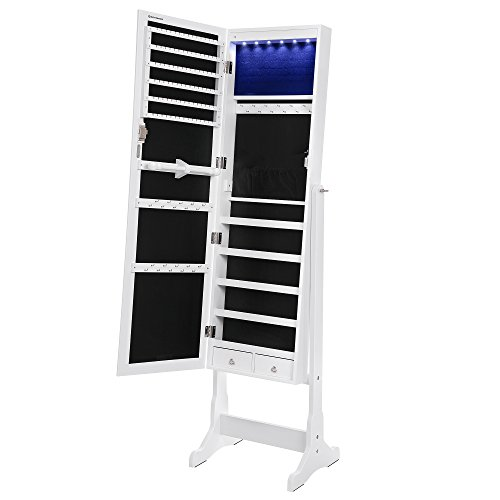 Great Features Of SONGMICS 6 LEDs Jewelry Cabinet Large Mirrored Jewelry Armoire Organizer with 2 Drawers White, Sturdy and Stylish UJJC94W