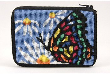 Coin Purse - Butterfly And Daisy - Needlepoint Kit