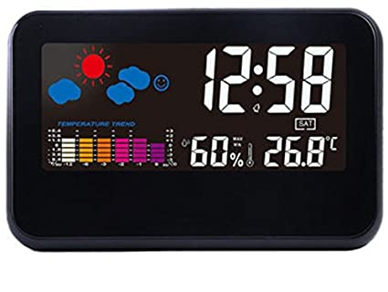 DC-002 Digital Weather Station Thermometer Hygrometer Alarm Clock with Colorful LED Display Smart Sound