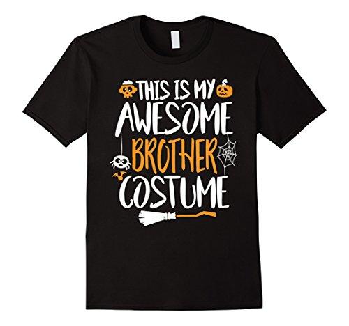 [Mens Halloween Pumpkin Shirt My Awesome Brother Costume Gifts 2XL Black] (Awesome Brother Costumes)