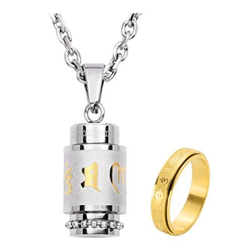 Jovivi Stainless Steel Prayer Wheel Bottle Keepsake Urn Necklace & Spinner Ring Memorial Religion Jewelry for Men -