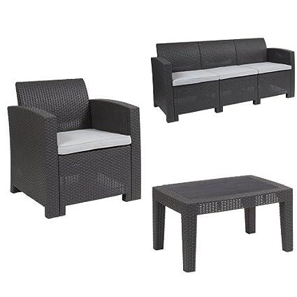 Peachy Amazon Com Flash Furniture 4 Piece Outdoor Faux Rattan Machost Co Dining Chair Design Ideas Machostcouk