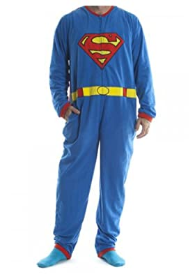 Superman Blue Union Suit Mens Caped Pajama