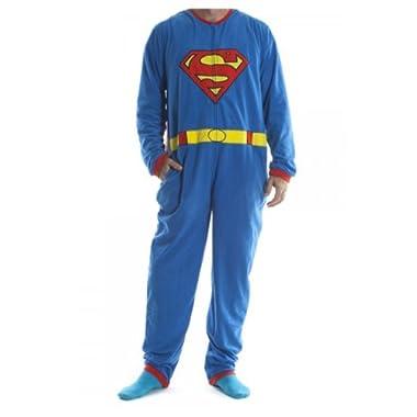 Superman - Mens Costume Union Suit With Cape Medium Blue