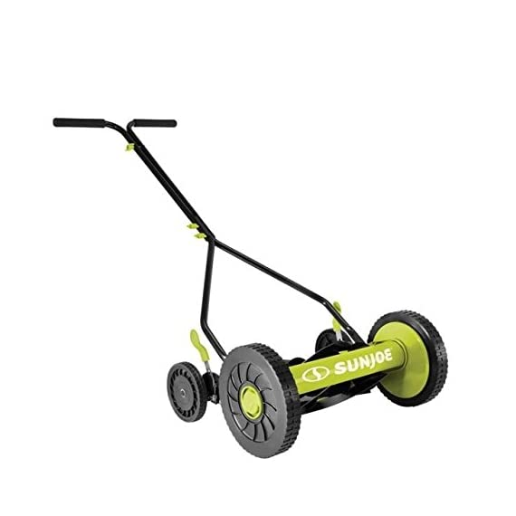 Sun Joe MJ503M 14-Inch Quad Wheel 9-Position Manual Reel Mower 3 ✅ REEL MOWER: Totally nature-friendly push reel mower - no electricity, no battery, no problem! ✅ ADJUSTABLE: 9-position height adjustment tailors grass cutting height from 1.1 to 2.9 inches ✅ RAZOREEL: 5 durable steel blades swiftly slice through grass for precise cutting