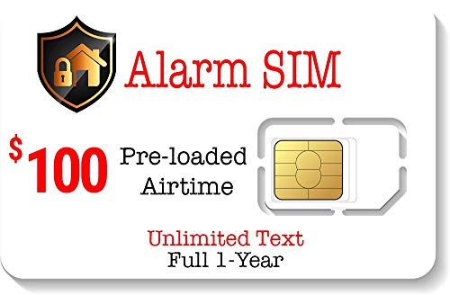 Prepaid Alarm SIM Card for GSM Home/Busines Security Alarm System - Unlimited Text - No Contract- 1 Year Wireless Service (Best No Contract Alarm System)