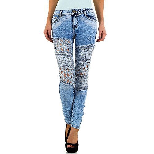 Used Look Low Nieten Skinny Jeans Für Damen , Blau In Gr. 38 bei Ital-Design
