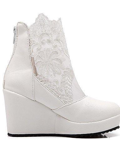Moda A Xzz Cuña 5 5 Cuñas Cn43 us10 Vestido Redonda Zapatos Negro Botas Uk8 Punta Tacón Encaje Semicuero Blanco La De White Mujer Eu42 pSnxPqzFpr