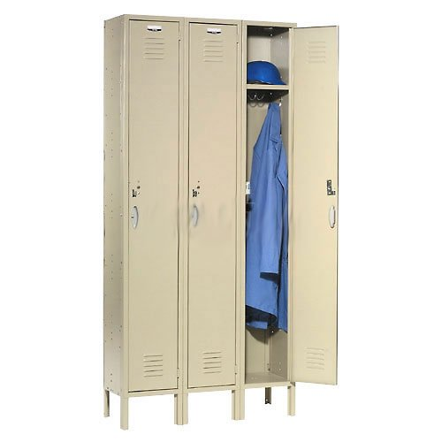 Single Tier Locker 12x15x72 3 Door RTA Tan (Double Tier Quiet Lockers)