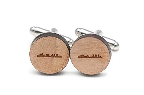 Wooden Accessories Company Barcelona Skyline Cufflinks, Wood Cufflinks Hand Made in The USA