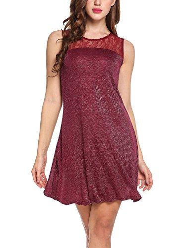 Zeagoo Women's Sleeveless Lace Patchwork Sparkle Glitter Mini Party Dress Wine Red Large