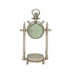Benzara 24541 Smart Aluminum Glass Table Clock/Compass Clock