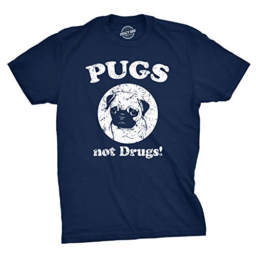 Mens Pugs Not Drugs T Shirt Pug Face Funny T Shirts Dogs Humor Novelty Tees (Navy) - L