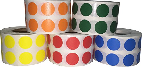 Círculo Punto Pegatinas 5 Colores Paquete, 1,27 Centimetres (1/2 Pulgadas) Redondo, 1000 Etiquetas de Cade Color en un Rollo