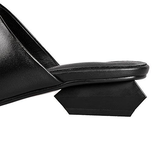 Jamron Mujer Elegante Tacón Irregular Brillante Piel Genuina Zuecos Cerrado Dedo Del Pie Puntiagudo Mulas Sandalias Negro