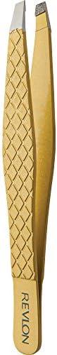 Revlon Pinça de ponta inclinada da série Gold com pontas revestidas com partículas de diamante para máxima ade