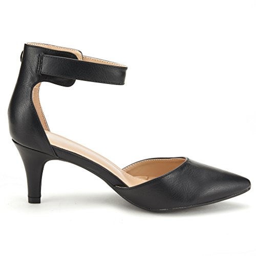 Dress Evening DREAM Women's Toe Black PAIRS Shoes D'Orsay Pointed Pu Wedding Heel LOWPOINTED New Strap Pumps Ankle Low n7UXIXq