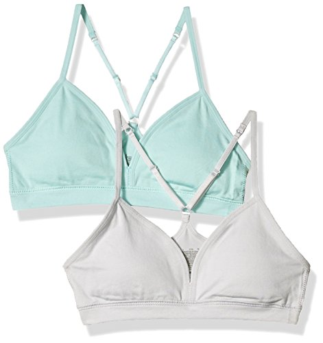 Hanes Big Girl's Comfort Flex Fit Seamless On The Go Racerback Bra 2-Pack Bra, Blue Spearmint/Sterling Grey, Large