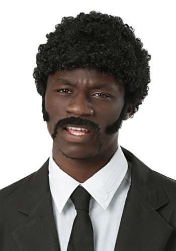 Pulp Fiction Halloween Costumes (Pulp Fiction Adult Jules Winnfield Wig and Facial Hair Set)