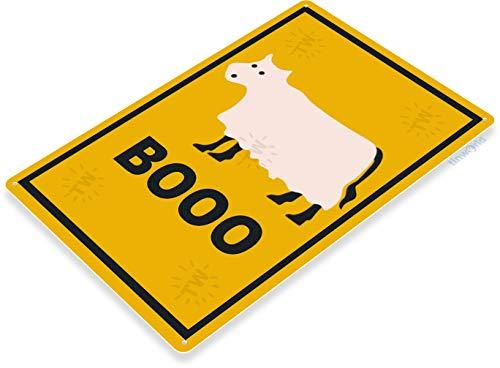 Tinworld Tin Sign Booo Cow Halloween Street Metal Sign Decor Holiday Ghost Cottage Farm -