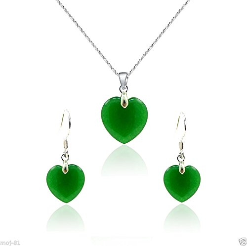 Fashion Jewelry Natural Green Jade Heart Shape Pendant Necklace Earring Set